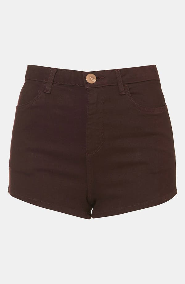 Main Image - Topshop Moto 'Suri' Denim Hot Pants (Burgundy)