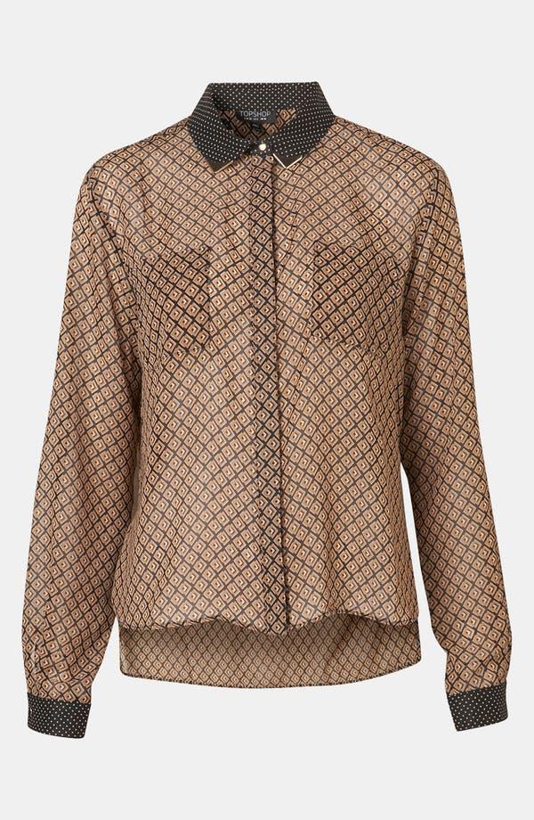 Alternate Image 1 Selected - Topshop Mixed Print Tipped Collar Shirt
