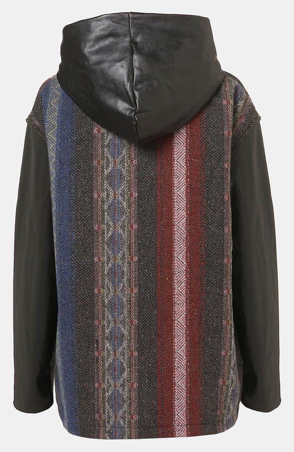 Alternate Image 2  - Topshop Faux Leather Trim Baja Coat