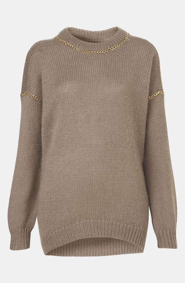 Alternate Image 1 Selected - Topshop Chain Trim Sweater