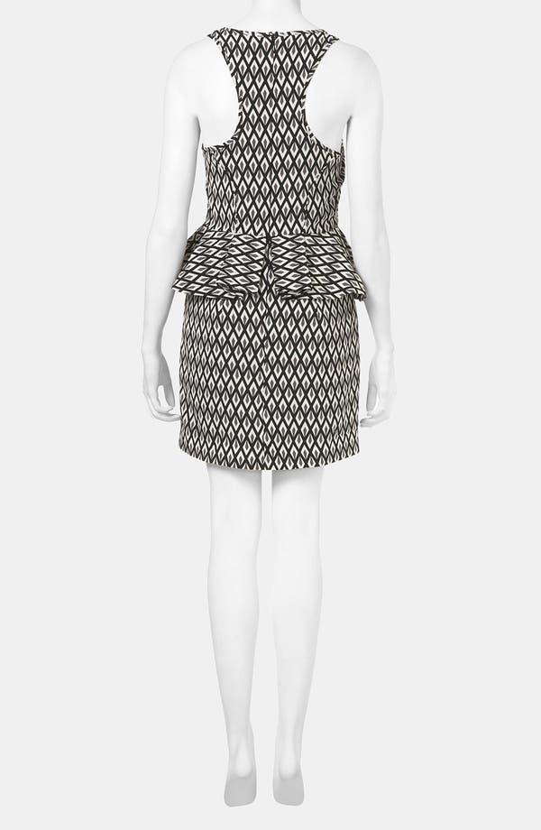 Geo Print Peplum Dress,                             Alternate thumbnail 2, color,                             Black/ Grey