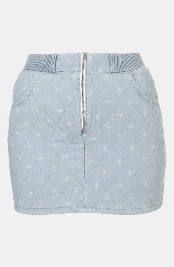 Main Image - Topshop Moto Quilted Ditsy Denim Miniskirt