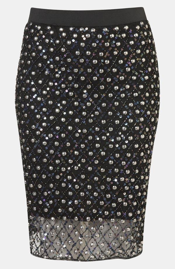 Main Image - Topshop Embellished Sheer Hem Pencil Skirt