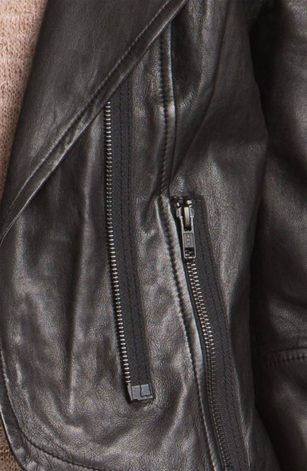 Alternate Image 3  - Trouvé Quilted Panel Leather Moto Jacket