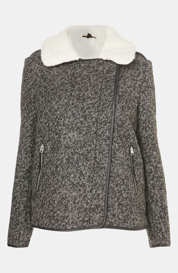 Alternate Image 4  - Topshop Textured Wool Biker Jacket