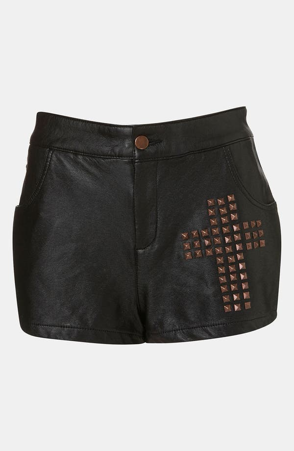 Alternate Image 1 Selected - Topshop Studded Cross Faux Leather Shorts