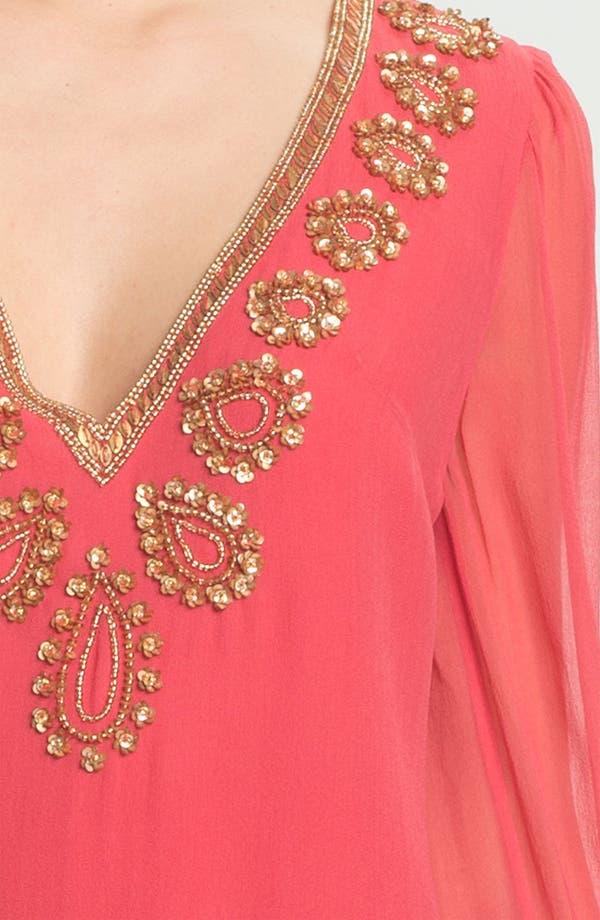 Alternate Image 3  - French Connection Embellished V-Neck Illusion Sleeve Silk Shift Dress
