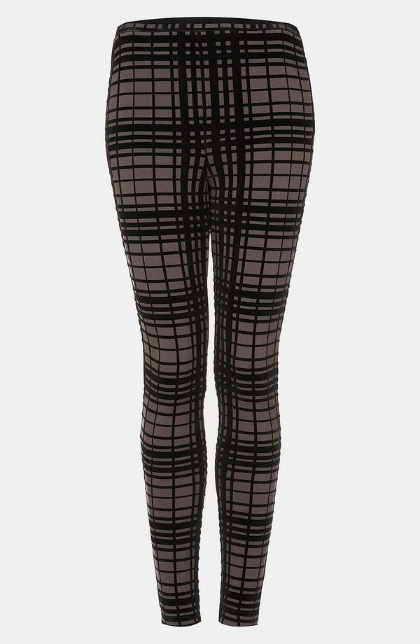 Alternate Image 2  - Topshop Plaid Velvet Leggings