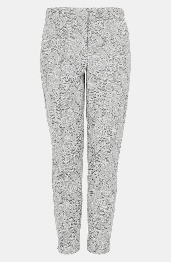 Main Image - Topshop Lace Jacquard Crop Cigarette Pants