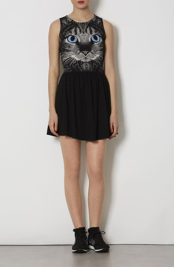 Alternate Image 2  - Topshop Cat Graphic Skater Dress