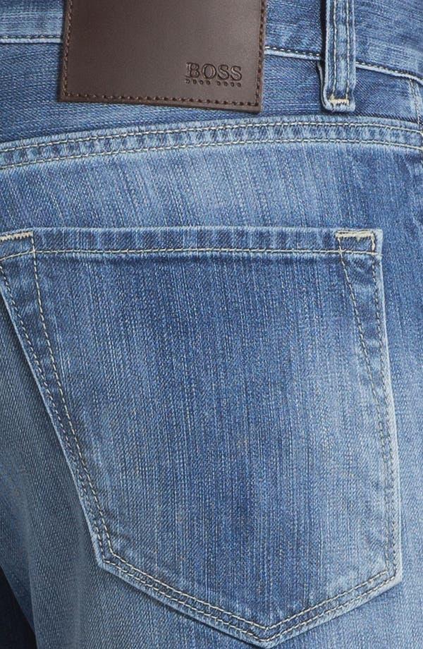 Alternate Image 4  - BOSS HUGO BOSS 'Maine' Straight Leg Regular Fit Jeans (Dark Used)