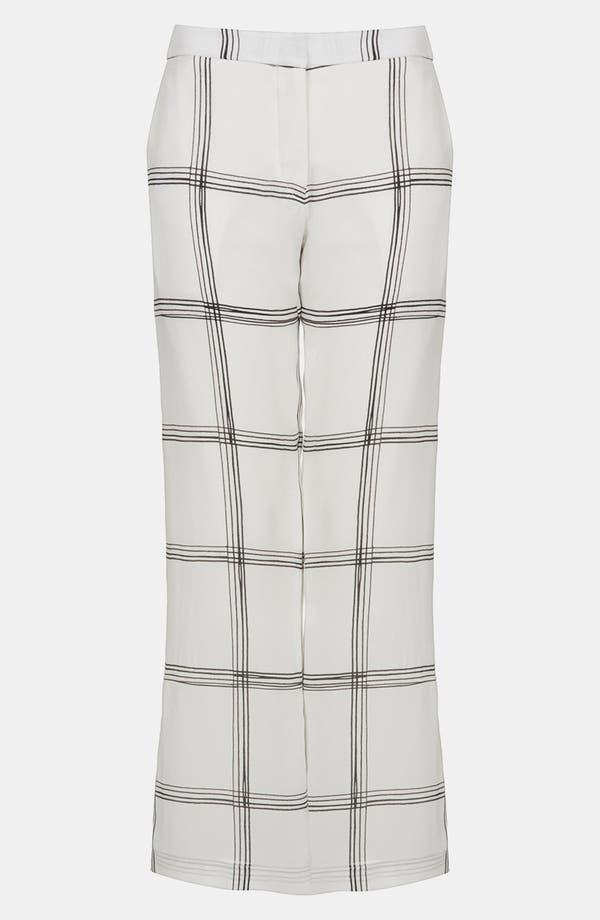 Main Image - Topshop Unique Line Plaid Silk Wide Leg Pants