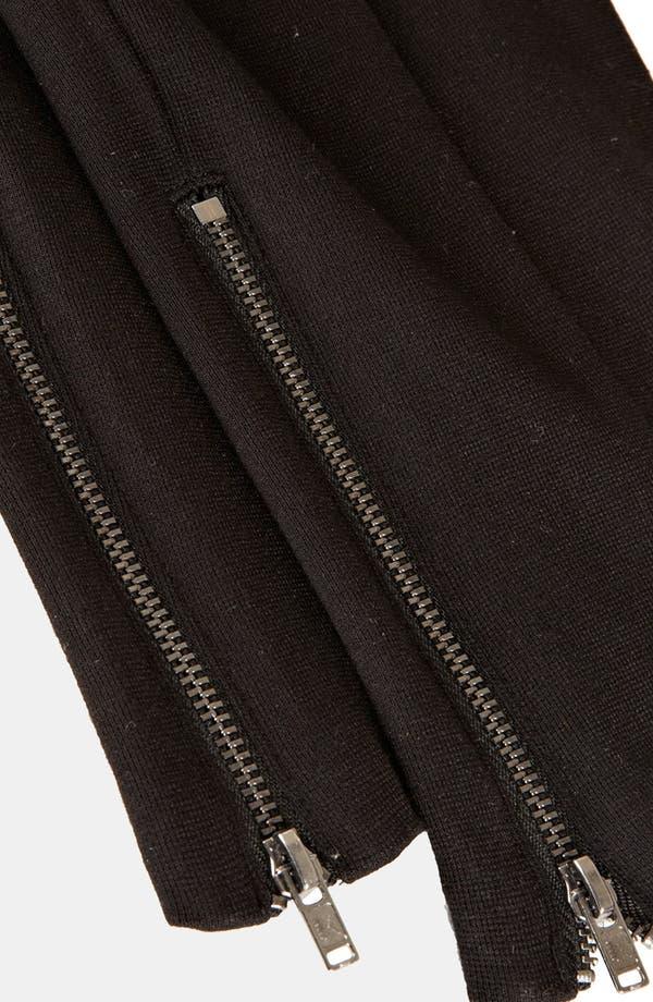 High Waist Ponte Skinny Pants,                             Alternate thumbnail 3, color,                             Black