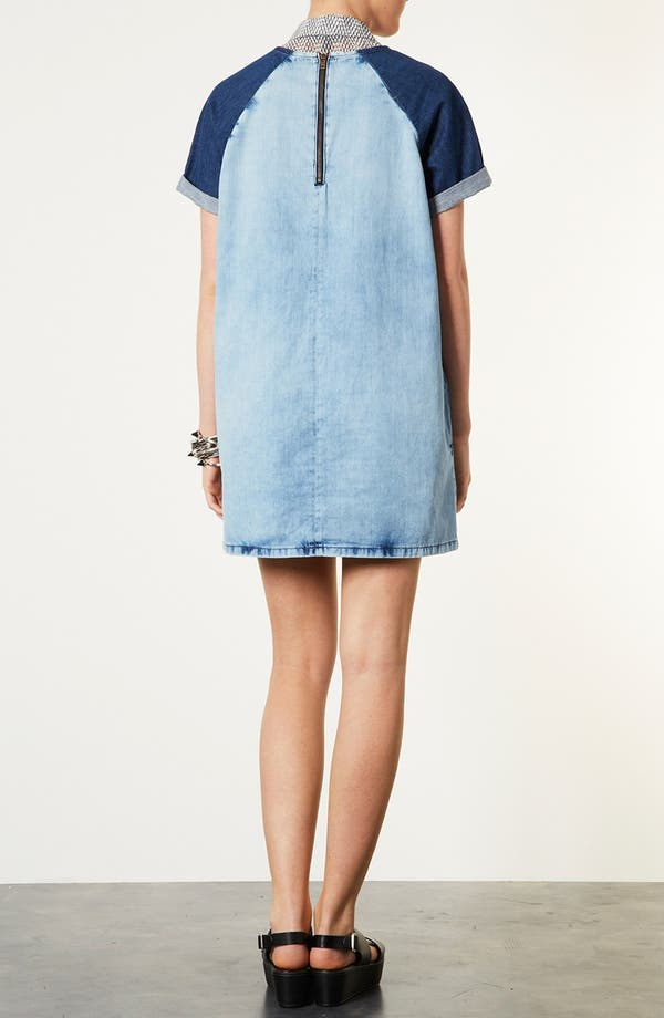 Alternate Image 2  - Topshop Contrast Sleeve Denim Dress