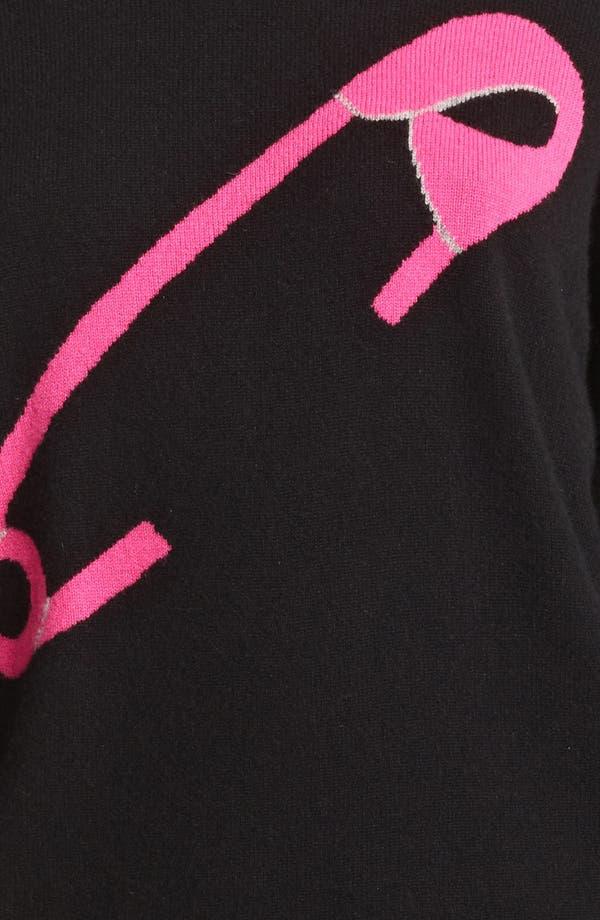 Cheap & Chic Graphic Cashmere Sweater,                             Alternate thumbnail 3, color,                             Black