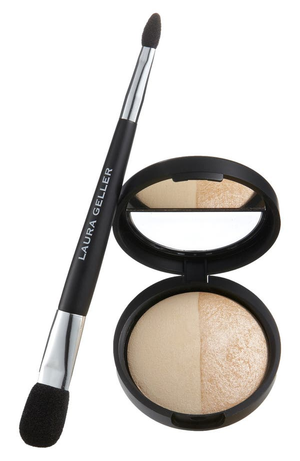Baked Split Highlighter & Double-Ended Face & Eye Applicator,                         Main,                         color, Portifino