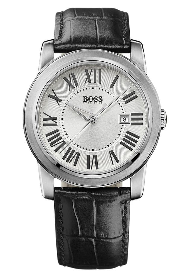 Main Image - BOSS HUGO BOSS Roman Numeral Leather Strap Watch, 40mm