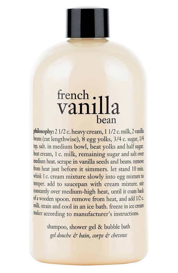 Main Image - philosophy 'french vanilla bean' shampoo, shower gel & bubble bath
