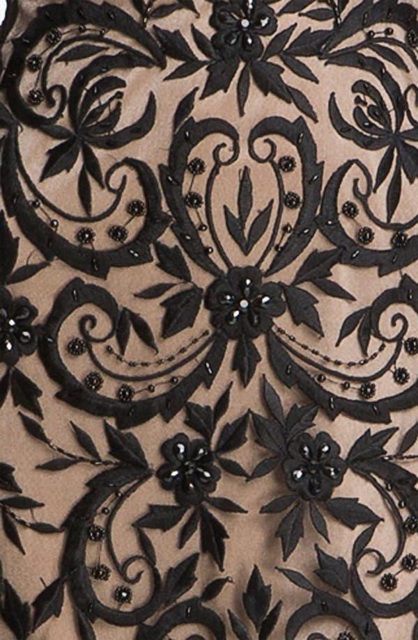 Alternate Image 3  - Sue Wong Embroidered Overlay V-Back Sheath Dress