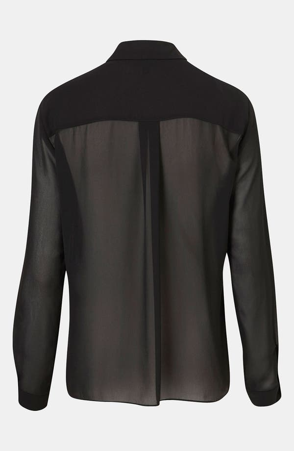 Alternate Image 2  - Topshop Moto Tipped Collar Chiffon Shirt