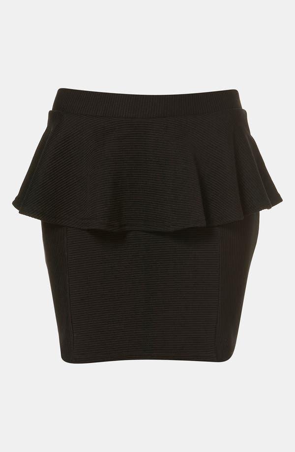 Main Image - Topshop Ribbed Peplum Miniskirt