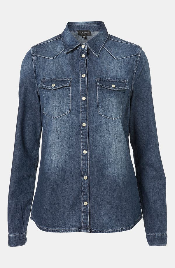Alternate Image 1 Selected - Topshop Moto 'Madison' Denim Shirt