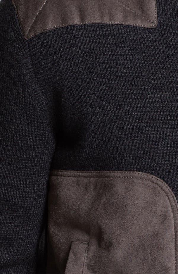 Alternate Image 3  - BOSS Black 'Laurin' Wool Blend Zip Cardigan with Suede Trim