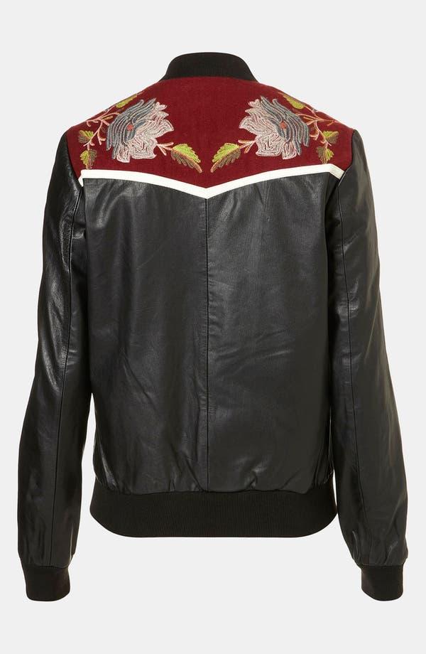 Alternate Image 2  - Topshop 'Clive' Embroidered Leather Bomber Jacket