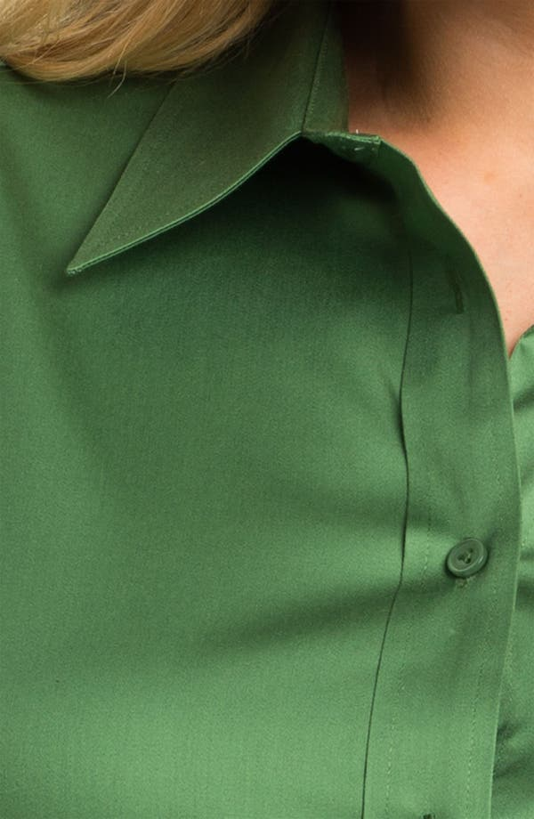 Alternate Image 3  - Foxcroft Shaped Stretch Sateen Shirt (Plus)