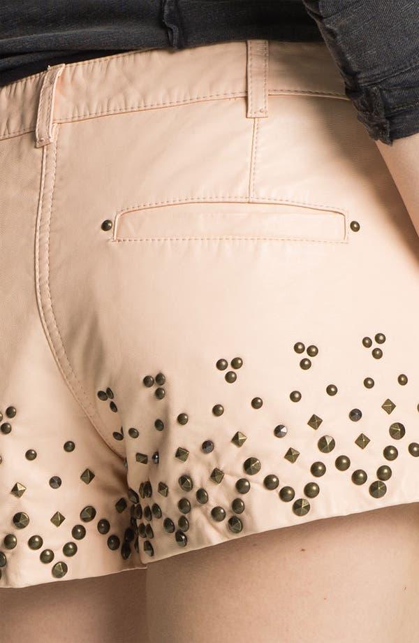 Alternate Image 3  - Free People Studded Faux Leather Shorts
