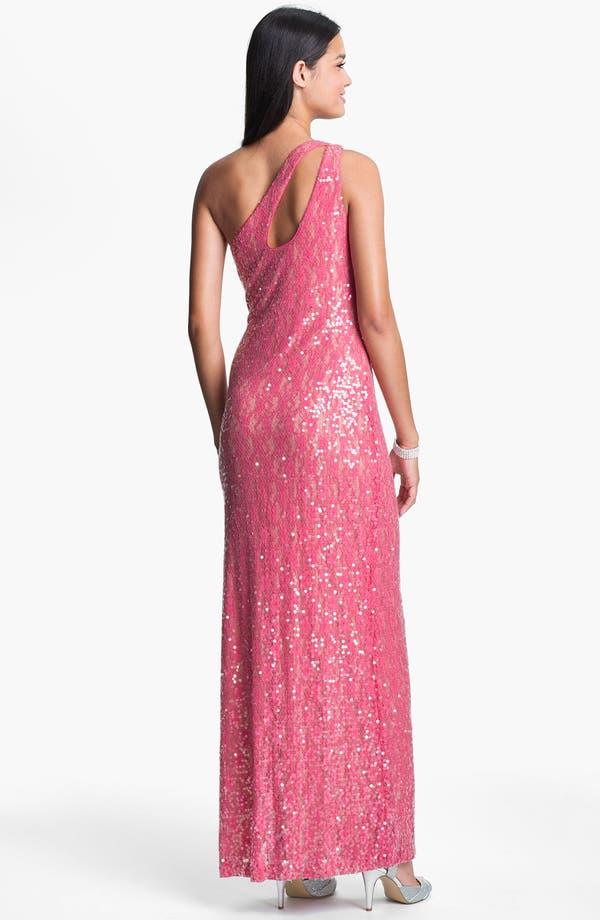 Alternate Image 2  - Aidan Mattox Sequin One Shoulder Gown