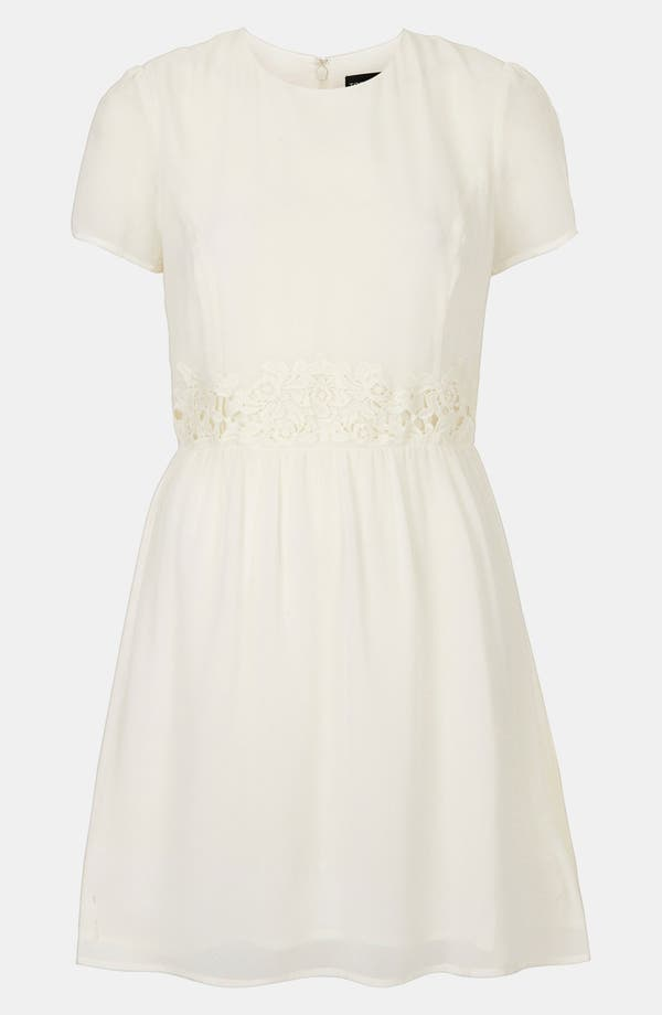 Main Image - Topshop Crochet Waist Skater Dress