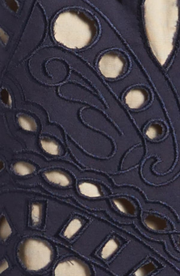 Cutout Dress,                             Alternate thumbnail 3, color,                             Navy With Taupe