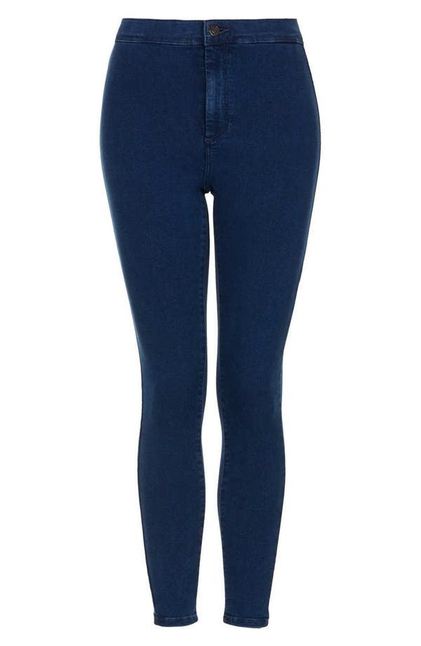 Alternate Image 1 Selected - Topshop Moto High Rise Skinny Jeans (Blue) (Petite)