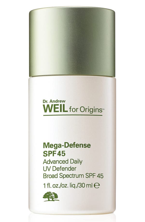 Dr. Andrew Weil for Origins<sup>™</sup> Mega-Defense Advanced Daily UV Defender SPF 45,                             Main thumbnail 1, color,                             No Color