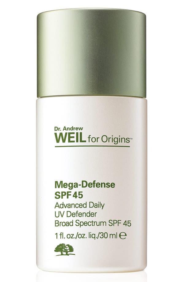 Dr. Andrew Weil for Origins<sup>™</sup> Mega-Defense Advanced Daily UV Defender SPF 45,                         Main,                         color, No Color
