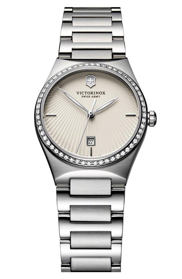 'Victoria' Diamond Bracelet Watch, 28mm,                             Main thumbnail 1, color,                             Silver