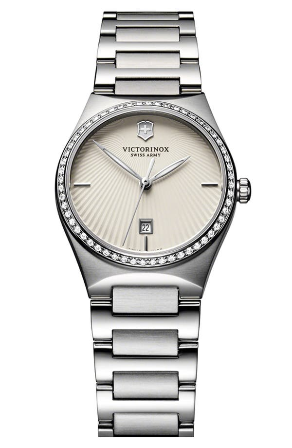 'Victoria' Diamond Bracelet Watch, 28mm,                         Main,                         color, Silver