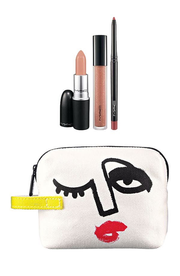 M·A·C 'Illustrated - Nude x3' Lip Color & Bag by Julie Verhoeven,                         Main,                         color,