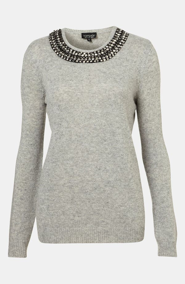Alternate Image 1 Selected - Topshop Rhinestone Trim Sweater