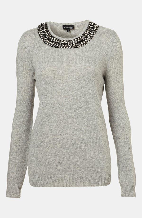 Main Image - Topshop Rhinestone Trim Sweater