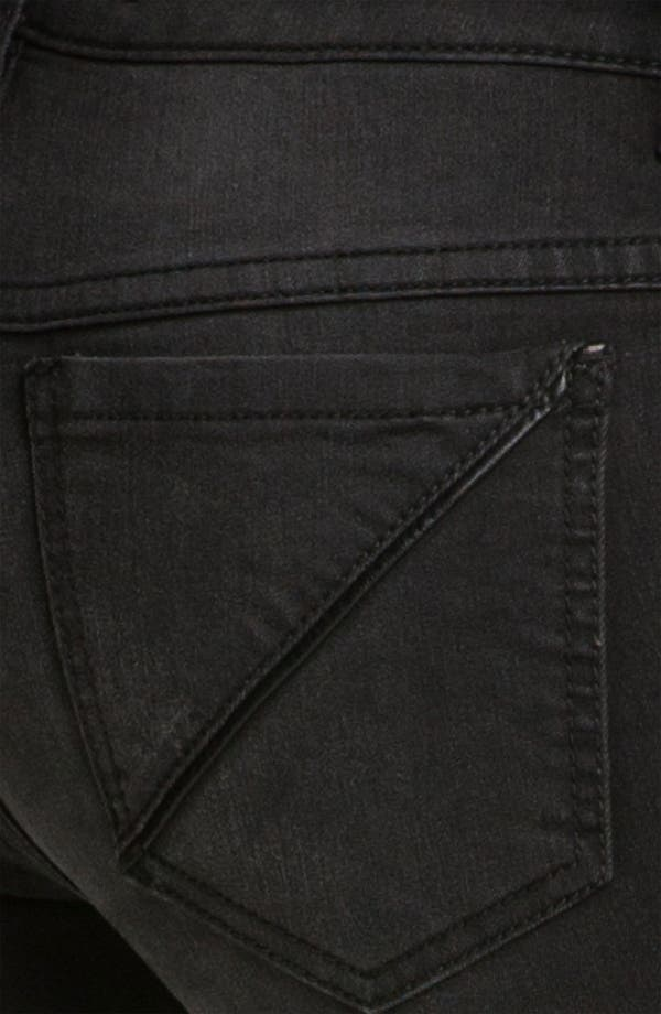 Alternate Image 3  - Free People Faux Leather Trim Skinny Jeans (Abyss)