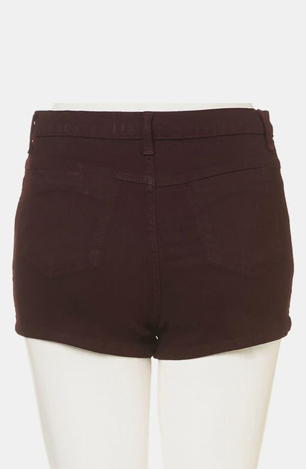 Alternate Image 2  - Topshop Moto 'Suri' Denim Hot Pants (Burgundy)