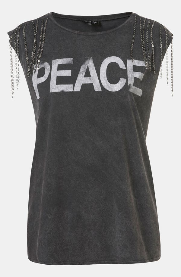Main Image - Topshop 'Peace' Chain Embellished Graphic Tee