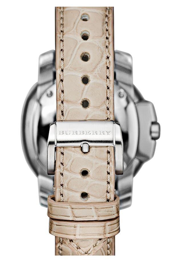 Alternate Image 4  - Burberry The Britain Diamond Bezel Alligator Strap Watch, 38mm