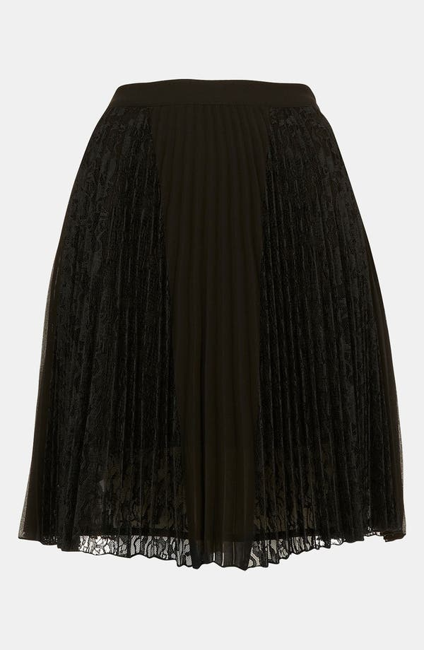 Main Image - Topshop Pleated Lace Panel Skirt
