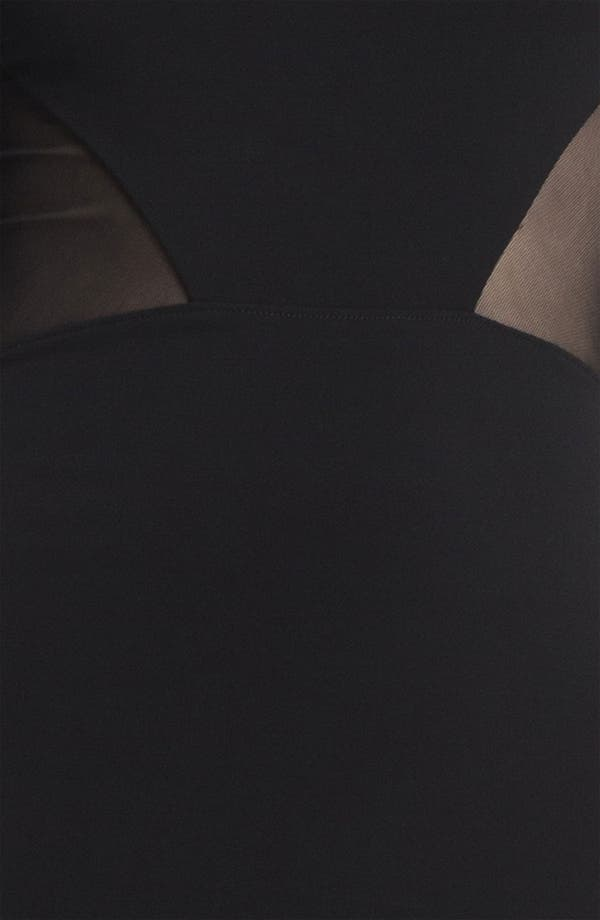 Sheer Inset Dress,                             Alternate thumbnail 4, color,                             Black