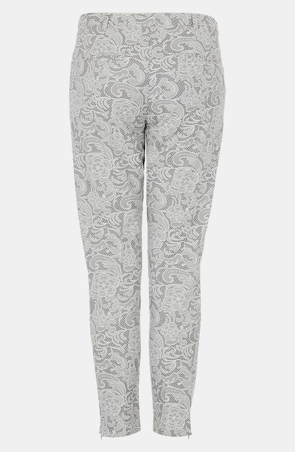 Alternate Image 2  - Topshop Lace Jacquard Crop Cigarette Pants