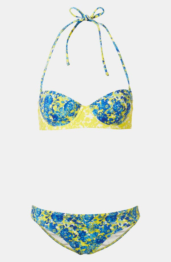 Alternate Image 1 Selected - Topshop 'Porcelain Floral' Print Retro Bikini