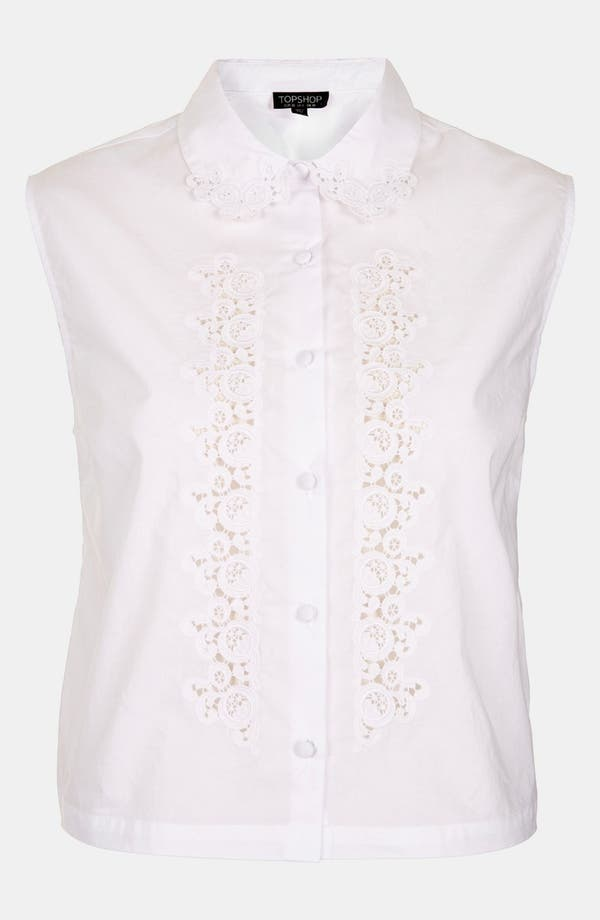 Alternate Image 3  - Topshop Embroidered Cutout Sleeveless Shirt